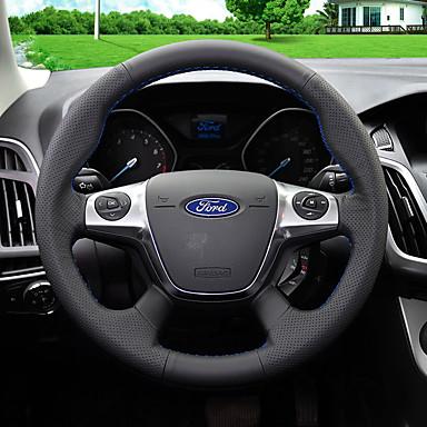 billige Rattovertrekk til bilen-Rattovertrekk til bilen Lær 38 cm Blå / Svart / Rød Til Ford Focus / Kuga 2012