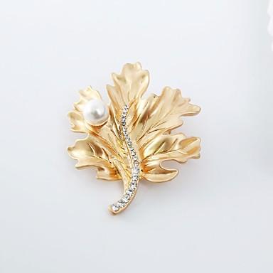 Γυναικεία Καρφίτσες Leaf Shape Κλασσικό Μοντέρνα Απομίμηση Μαργαριταριού Προσομειωμένο διαμάντι Καρφίτσα Κοσμήματα Χρυσό Ασημί Για Καθημερινά