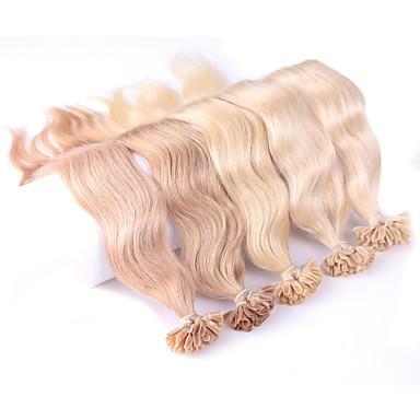voordelige Extensions van echt haar-Neitsi Samensmelten / U-tip Extensions van echt haar Golvend Echt haar Extentions van mensenhaar Dames Blonde