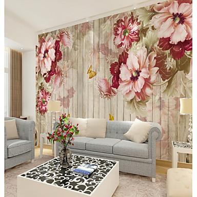 preiswerte Wandgemälde-Blumen auf Holzwand angepasst 3d große Wandbeläge Wandbild Tapeten für Restaurants TV Hintergrund Holzbretter