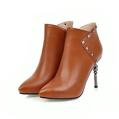 Mujer Zapatos Cuero Otoño invierno Botas de Moda Botas Tacón Stiletto Dedo Puntiagudo Botines / Hasta el Tobillo Remache Negro / Caqui lUu68