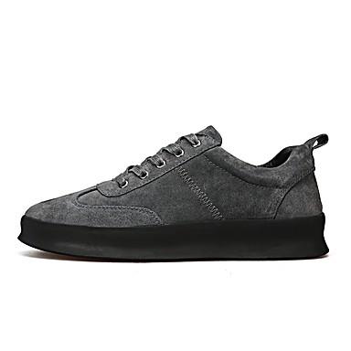 Hombre Zapatos Cuero de Cerdo Invierno Confort Zapatillas de deporte Negro / Gris oscuro DZg5jsBK