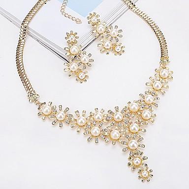 Γυναικεία Κουμπωτά Σκουλαρίκια Κρεμαστά Κολιέ κυρίες Κλασσικό Ευρωπαϊκό Μοντέρνα Μαργαριτάρι Σκουλαρίκια Κοσμήματα Χρυσό / Ασημί Για