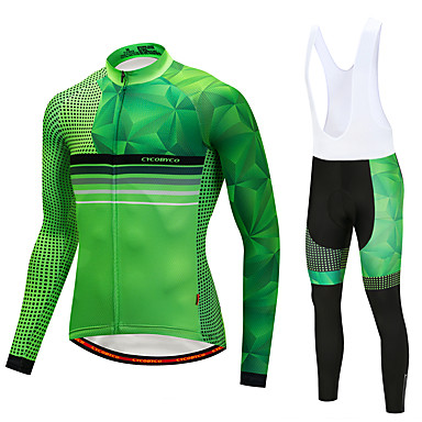 CYCOBYCO Ανδρικά Μακρυμάνικο Αθλητική φανέλα και κολάν ποδηλασίας Χειμώνας Προβιά Λίκρα Πορτοκαλί Κίτρινο Πράσινο Κουκκίδα Ποδήλατο Ρούχα σύνολα Φλις Επένδυση 3D Pad Γρήγορο Στέγνωμα Αθλητισμός