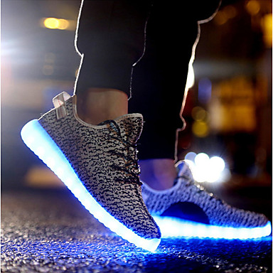 Ανδρικά Παπούτσια άνεσης Πλεκτό Άνοιξη, Φθινόπωρο, Χειμώνας, Καλοκαίρι LED Αθλητικά Παπούτσια Μαύρο / Κόκκινο / Γκρίζο / EU40