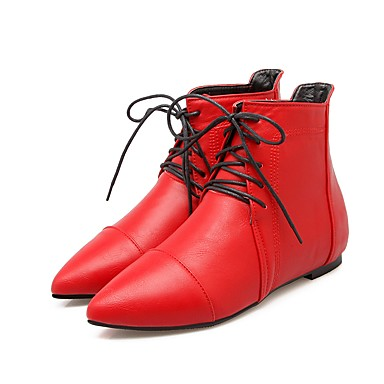 b5e6306d8a5 Women s Shoes Leatherette Spring Fall Comfort Ankle Strap Boots Flat Heel  Pointed Toe Booties Ankle Boots for Casual White Black Red 6439248 2019 –   29.99