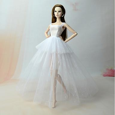 Vestido de boneca Vestido com Corpete Para Barbie Rendas Branco Linho / Algodão Cetim / Tule Renda Vestido Para Menina de Boneca de Brinquedo