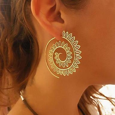 levne Dámské šperky-Dámské Visací náušnice Náušnice - Kruhy Vlna Twist Circle Prohlášení dámy Vintage Evropský Geleneksel Módní Náušnice Šperky Zlatá / Stříbrná Pro Večerní oslava Karneval
