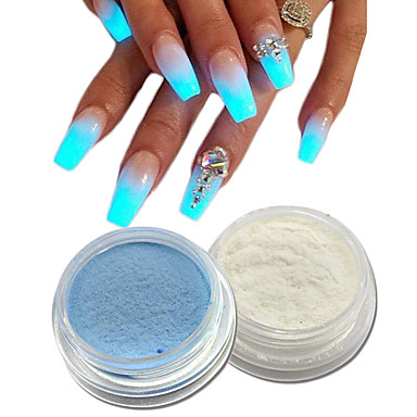 2pcs Acrylic Powder Nail Glitter Sparkle Shine Luminous Art Design 6385406 2018 1 39