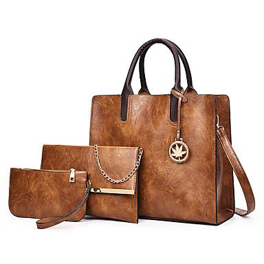 Γυναικεία Φερμουάρ PU Σετ τσάντα Τσάντα Σετ 3 σετ Σετ τσαντών Μαύρο / Καφέ / Ρουμπίνι