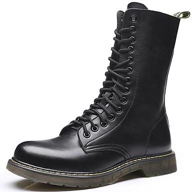 Ανδρικά Μπότες Μοτοσυκλετιστή Δέρμα Φθινόπωρο / Χειμώνας Μπότες Μπότες στη Μέση της Γάμπας Καφέ / Κρασί / ΕΞΩΤΕΡΙΚΟΥ ΧΩΡΟΥ