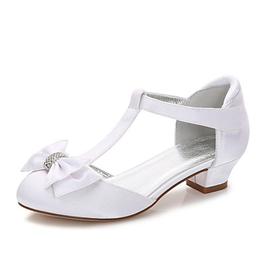 cheap Kids' Shoes-Girls' Heels T-Strap / Ballerina / Ankle Strap Silk Rhinestone / Bowknot / Buckle White / Ivory Spring / Fall / Wedding / Party & Evening / Wedding / Lace-up / Rubber