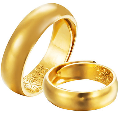 Men S Women S Band Ring 2pcs Gold Gold Plated Formal Simple Classic