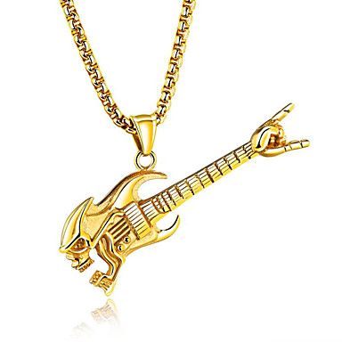 levne Dámské šperky-Pánské Náhrdelníky s přívěšky Hudba Kytara Módní Hip-hop Titan Ocel Zlatá Stříbrná Náhrdelníky Šperky Pro Klub Bar