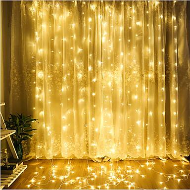 dm 1pc οδήγησε κουρτίνα φως κουρτίνας 3 * 3 m 300 οδήγησε Χριστούγεννα εξωτερική αδιάβροχο φεστιβάλ γάμο διακοσμητική κουρτίνα πολύχρωμη / ζεστό λευκό / κρύο λευκό / μπλε eu ac220v / us ac110v