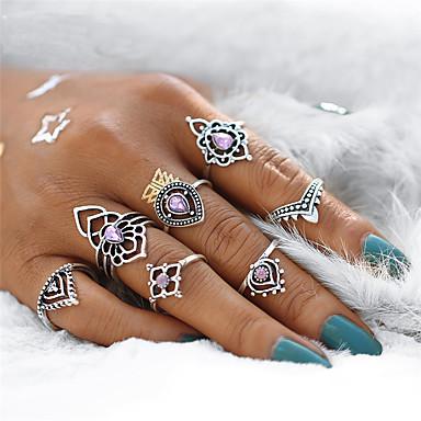 Γυναικεία Σετ δαχτυλιδιών Pinky Ring Συνθετικό Αμέθυστο 7pcs Ασημί Κρύσταλλο Κράμα Geometric Shape κυρίες Βίντατζ Μποέμ Πάρτι Δώρο Κοσμήματα Γεωμετρική κεντώ Κρεμαστό Λουλούδι