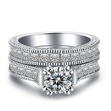 Γυναικεία Band Ring Cubic Zirconia 2 Ασημί Ζιρκονίτης Ασημί Circle Shape Geometric Shape Κλασσικό Βίντατζ Μοντέρνα Γάμου Καθημερινά Κοσμήματα HALO