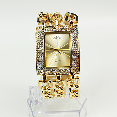 cheap Square & Rectangular Watches-Women's Ladies Luxury Watches Fashion Watch Bracelet Watch Quartz Sparkle Casual Watch Gold Analog - Gold Two Years Battery Life / Japanese / Japanese / Sony-SR626SW