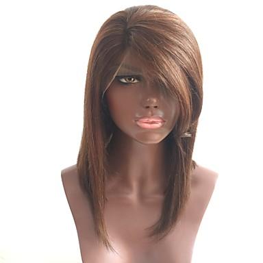 povoljno Ljepota i kosa-Ljudska kosa Perika s prednjom čipkom bez ljepila Lace Front Perika Bob frizura Stepenasta frizura Sa šiškama stil Brazilska kosa Ravan kroj Perika 130% Gustoća kose s dječjom kosom Prirodna linija