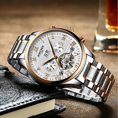 cheap Dress Classic Watches-Men's Dress Watch Wrist Watch Mechanical Watch Automatic self-winding Silver 30 m Calendar / date / day Chronograph Hollow Engraving Analog Luxury Classic Casual Elegant Fashion - Silver / Gray Black