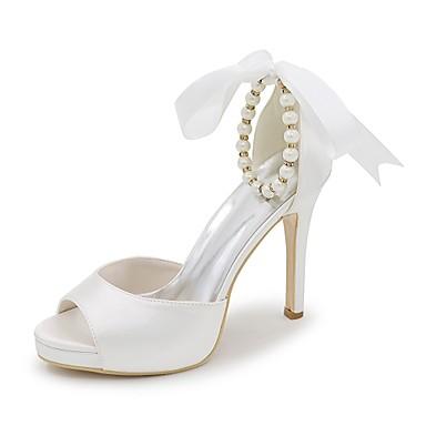 Mujer Zapatos Satén Primavera / Verano Pump Básico Zapatos de boda Tacón Stiletto Punta abierta Perla de Imitación Azul / Champaña / Meilleur Jeu De Gros ggSXm