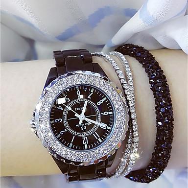baratos Relógios Senhora-Mulheres senhoras Relógio de Pulso Relógio de diamante envoltório relógio Japanês Quartzo Cerâmica Preta / Branco 30 m Relógio Casual Analógico Amuleto Bling Bling - Branco Preto / Aço Inoxidável
