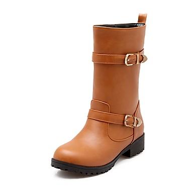Γυναικεία Παπούτσια Δερματίνη Άνοιξη   Φθινόπωρο Ανατομικό   Μπότες  Ιππασίας Μπότες Στρογγυλή Μύτη Μπότες στη Μέση της Γάμπας Αγκράφα 6347860  2019 –  34.99 d6b712f1edd