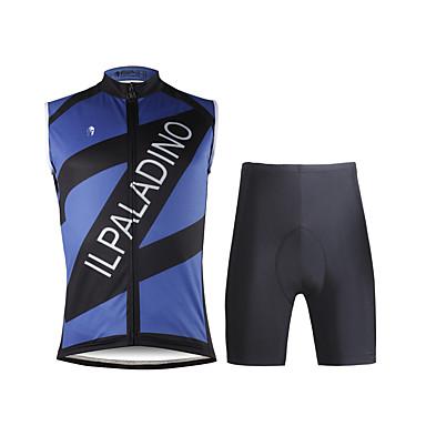 ILPALADINO Ανδρικά Αμάνικο Φανέλα και σορτς ποδηλασίας Σκούρο μπλε Ποδήλατο Γιλέκο Σορτσάκια με Μαξιλαράκια Ρούχα σύνολα 3D Pad Γρήγορο Στέγνωμα Αθλητισμός Λίκρα Μονόχρωμο Ποδηλασία Δρόμου Ρούχα