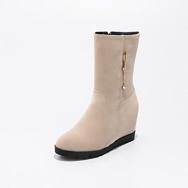 Mujer Zapatos Terciopelo Otoño invierno Botas de Combate Botas Plataforma Dedo redondo Botines / Hasta el Tobillo Negro / Rojo / Almendra La Sortie Pas Cher 2Qde3tigF