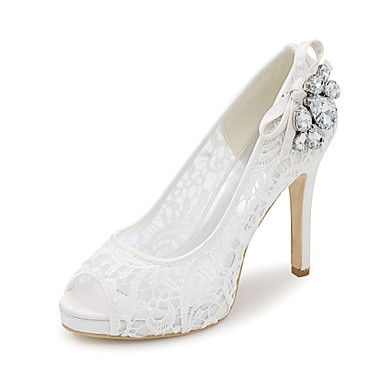 15a1204a7d Women's Lace Spring / Summer Basic Pump Wedding Shoes Stiletto Heel Peep Toe  Rhinestone Black / Pink / Ivory / Party & Evening 6414108 2019 – $44.99