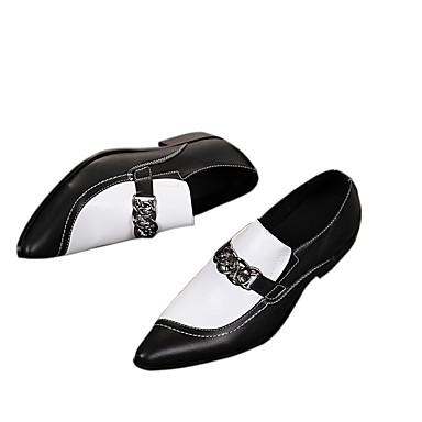 billige Utvalgte tilbud-Herre Formell Sko Lær Vår / Høst Vintage Oxfords Svart / Svart / Hvit / Bryllup / Fest / aften / Nagle / Fest / aften / Novelty Shoes