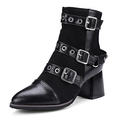 GIY Womens Pointed Toe Buckle Strap Combat Ankle Boots Chunky Block Heel Bootie Motorcycle Short Boot