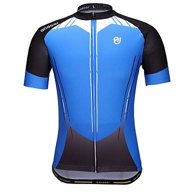Ανδρικά Κοντομάνικο Φανέλα ποδηλασίας Πολυεστέρας Μπλε Ποδήλατο Αθλητική μπλούζα Ποδηλασία Βουνού Ποδηλασία Δρόμου Γρήγορο Στέγνωμα Αθλητισμός Ρούχα / Ελαστικό