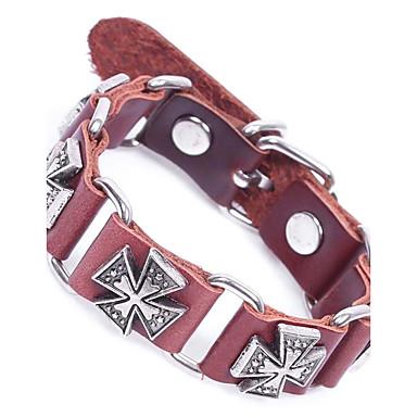 preiswerte Gliederarmband-Herrn Ketten- & Glieder-Armbänder Lederarmbänder Gliederarmband überdimensional Leder Armband Schmuck Schwarz / Kaffee Für Strasse