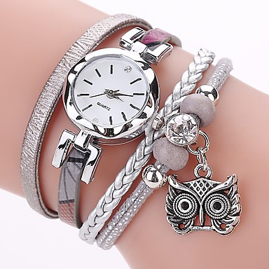 levne Dámské-Dámské dámy Náramkové hodinky Maketa Diamant Hodiny Diamond Watch Křemenný Wrap Z umělé kůže Černá / Bílá / Modrá imitace Diamond Analogové Na běžné nošení Cikánské Módní - Šedá Růžová Světle modrá