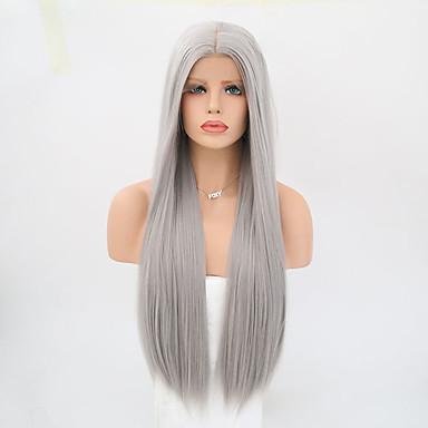 Συνθετικές μπροστινές περούκες δαντέλας Ίσιο Ίσια Δαντέλα Μπροστά Περούκα Μακρύ Γκρι Συνθετικά μαλλιά Γυναικεία Γκρι