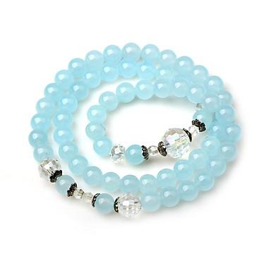 billige Motearmbånd-Dame Onyks Perlearmbånd Sjal Armbånd Enkel Mote Krystall Armbånd Smykker Lyseblå Til Gate Ut på byen