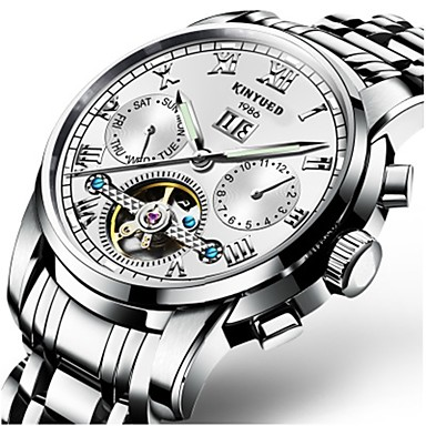 cheap Mechanical Watches-Men's Mechanical Watch Quartz Watches Aviation Watch Automatic self-winding Black / Silver 30 m Water Resistant / Waterproof Calendar / date / day Chronograph Luxury Classic Casual Fashion - Black