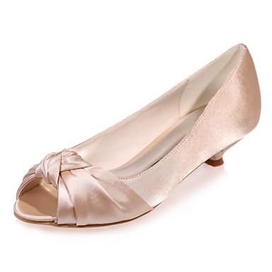 Γυναικεία Γαμήλια παπούτσια Γατίσιο Τακούνι Ανοικτή Μύτη Σατέν Βασική Γόβα Άνοιξη / Καλοκαίρι Μπλε / Ανοικτό Καφέ / Κρύσταλλο / Γάμου / Πάρτι & Βραδινή Έξοδος / EU42