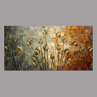 cheap Wall Art-Oil Painting Hand Painted - Floral / Botanical Simple Rustic Modern Stretched Canvas