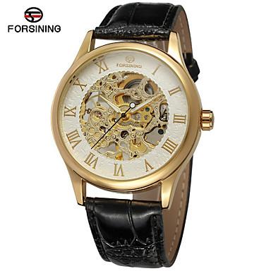 levne Pánské-FORSINING Pánské Hodinky s lebkou Náramkové hodinky Automatické natahování Kůže Černá / Hnědá 30 m S dutým gravírováním Analogové Luxus Klasické Vintage Na běžné nošení Módní - Gold / White Růžov