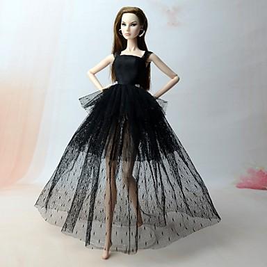 Φόρεμα κούκλα Φορέματα Για Barbie Πουά Δαντέλα Μαύρο (iPhone4) Μείγμα Λινό / Βαμβάκι Σατέν / Τούλι Δαντέλα Φόρεμα Για Κορίτσια κούκλα παιχνιδιών