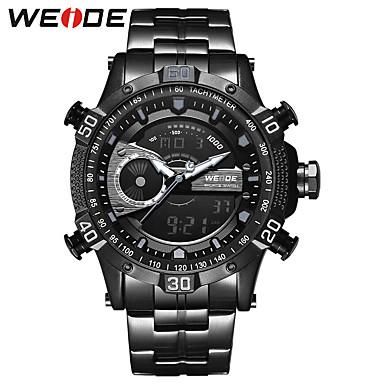 levne Pánské-WEIDE Pánské Sportovní hodinky Náramkové hodinky Digitální hodinky japonština Digitální Nerez Černá 30 m Voděodolné Kalendář Hodinky s dvojitým časem Analog - Digitál Luxus Klasické Na běžné nošen