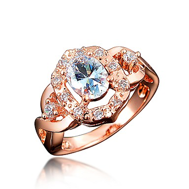 billige Motering-Dame Band Ring Kubisk Zirkonium High End Crystal 1 Hvit Rød Marineblå Zirkonium Gullplatert rose Sirkelformet Geometrisk Form Klassisk Vintage Europeisk Bryllup Fest Smykker Prinsesse Krone