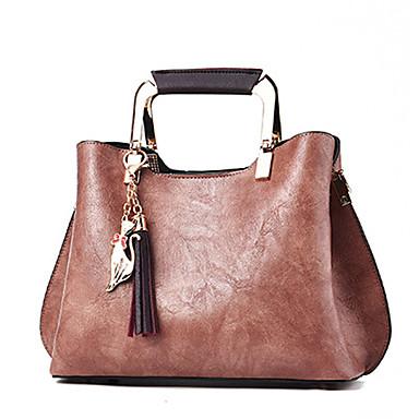 cheap Top Handles & Tote Bags-Women's Zipper PU Top Handle Bag Black / Wine / Blushing Pink