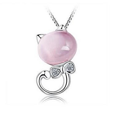 povoljno Modne ogrlice-Žene Kristal Privjesci Mačka Sa životinjama Crtići Kristal Imitacija dijamanta Legura Pink Ogrlice Jewelry Za Dnevno