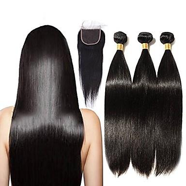 povoljno Ekstenzije od ljudske kose-3 paketi s zatvaranjem Brazilska kosa Ravan kroj Remy kosa Ljudske kose plete 16-20 inch Isprepliće ljudske kose Proširenja ljudske kose