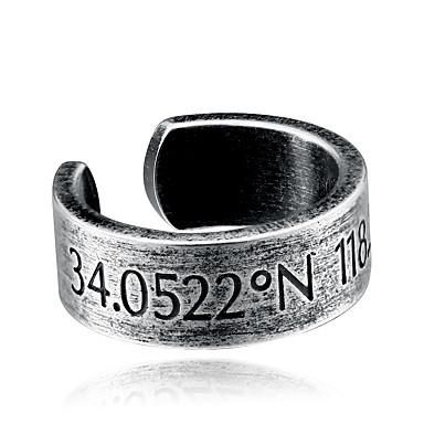 voordelige Herensieraden-Heren Statement Ring обернуть кольцо Zilver Titanium Staal Roestvrij staal Titanium Geometrische vorm Modieus Hip-hop Feest Dagelijks Sieraden meetkundig Cool