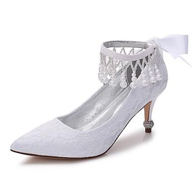 Mujer Zapatos Encaje / Satén Primavera / Verano Confort Zapatos de boda Dedo Puntiagudo Pedrería / Purpurina Blanco / Marfil / Boda JxXmS