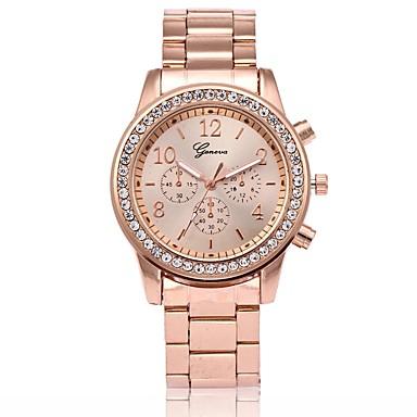 preiswerte Luxusuhren-Herrn Damen Uhr Modeuhr Armbanduhr Diamond Watch Quartz Rose Gold überzogen Metall Rotgold Armbanduhren für den Alltag Analog Luxus Gold Silber Rotgold / Ein Jahr